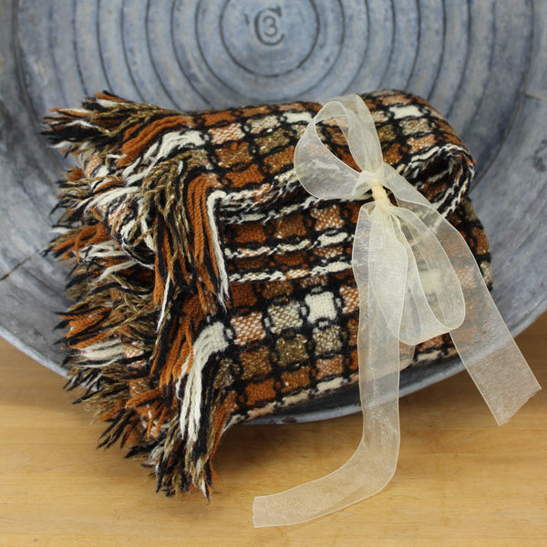 Woven Pendleton Wool Throw - Extremely Handsome Blacks Browns White Dimensional Weave - USA