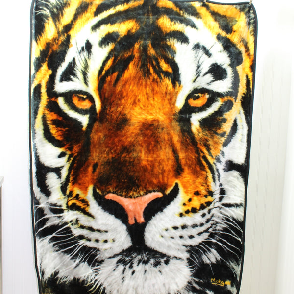 "Northwest USA Polyester Plush Throw Blanket - Tiger Face - 45"" X 60"" upclose cat"