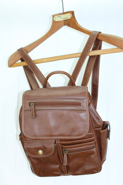 Rosetti Leather Backpack - Brown Double Strap - Compartments Galore