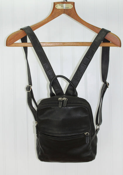 Fossil Leather Backpack - Black Double Strap - Logo Lining Silver Key