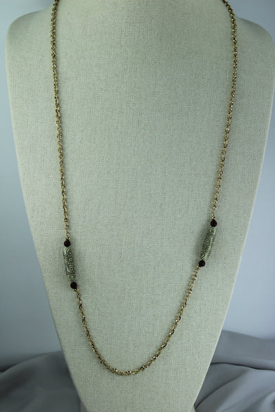 SARAH COV Vintage Necklace Gold Tone Chain Etched Beads