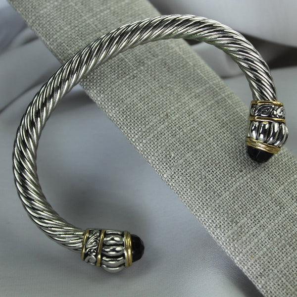 Silver Rope Cuff Bracelet Black Faceted Tip Handsome Unisex Heavy Adjustable