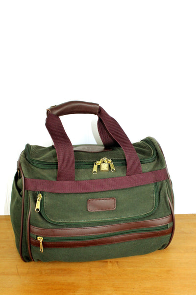 Orvis Battenkill Green Canvas Leather Duffle Bag - Orvis Logo Lining