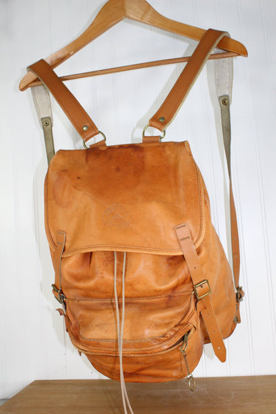 Beckmann Vintage Leather Backpack - Metal Frame Heavy Leather - Norwegian Day Pack