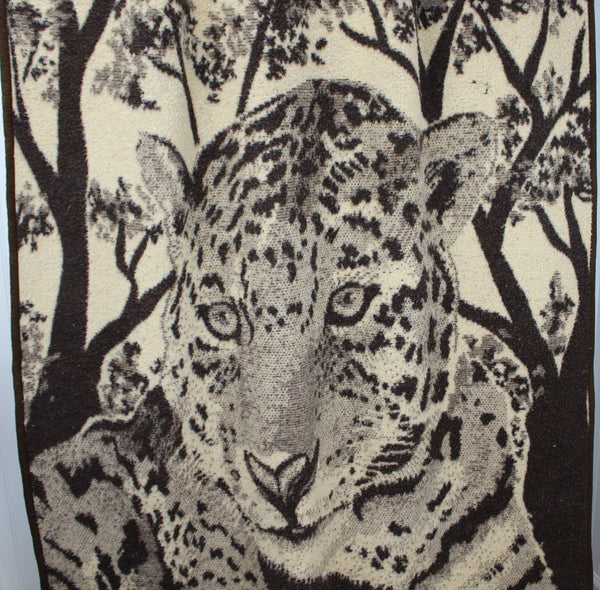 Lintex Intl Acrylic Throw Blanket - Tiger Jungle Scene - Brown Cream - Spain