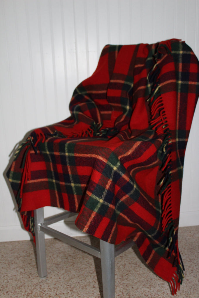 TROY Robe Blanket Vintage Throw Red Green Black Plaid heavy