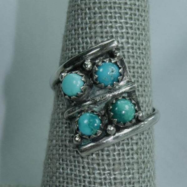Sterling Turquoise Ring Offset Rectangle 4 Stones