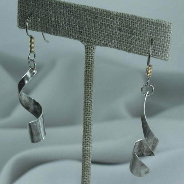 Wire Fish Hook Earrings Sterling Curled Ribbon