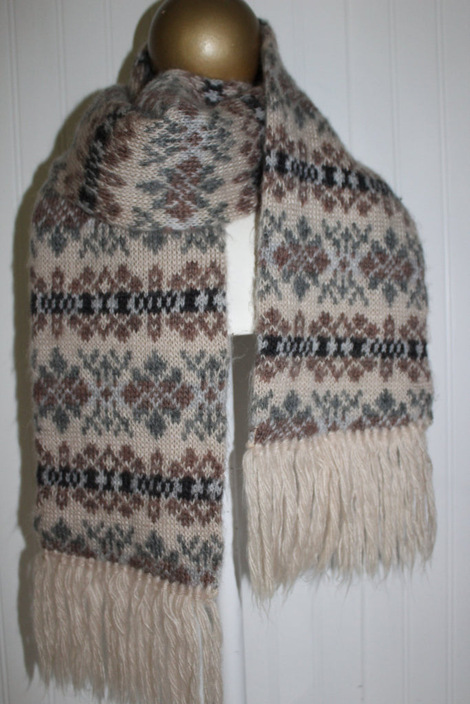 "Acrylic Double Scarf Aris Nordic Sweater Knit 7"" X 60"" Wash Dry grey brown"