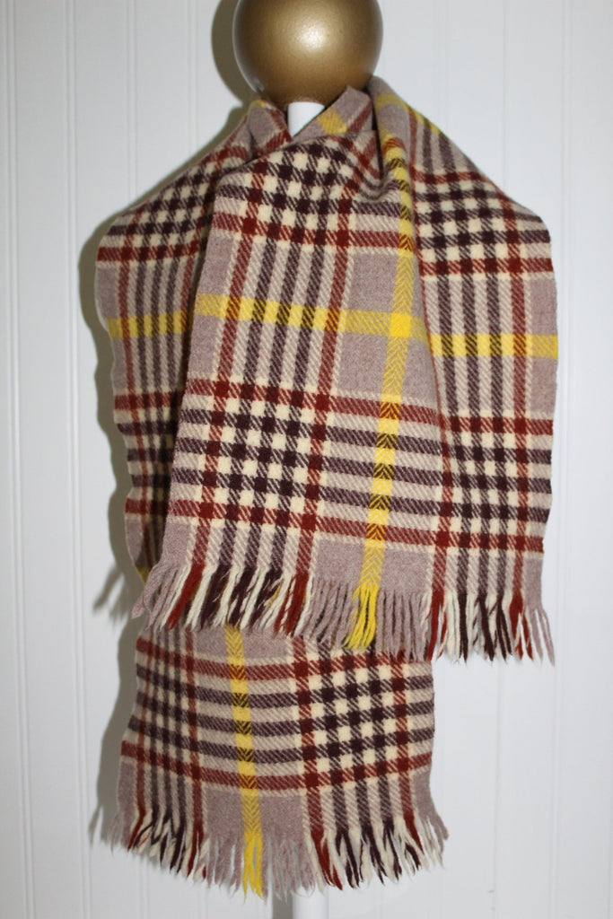 "Kynoch Neck Scarf Wool Scotland Brown Tan  Plaid 38"" X 9 3/4"" Suit Coat classy"