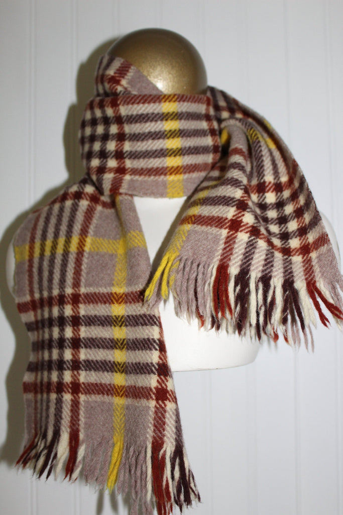"Kynoch Neck Scarf Wool Scotland Brown Tan  Plaid 38"" X 9 3/4"" Suit Coat"