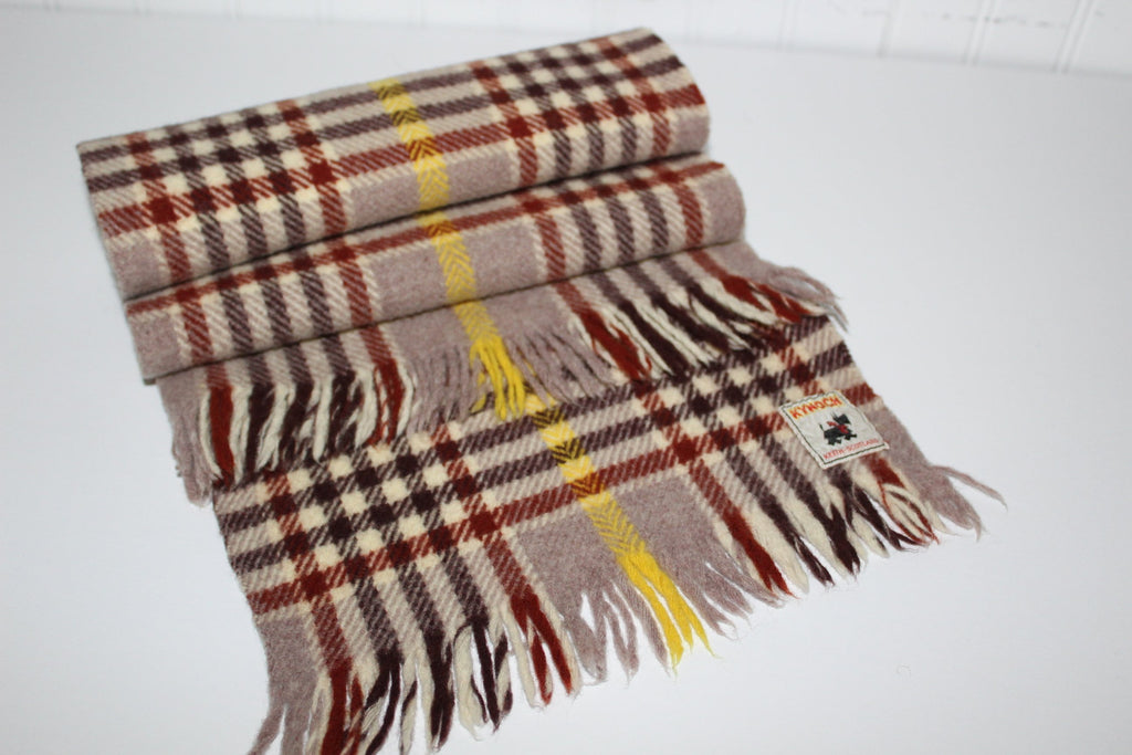 "Kynoch Neck Scarf Wool Scotland Brown Tan  Plaid 38"" X 9 3/4"" Suit Coat warm"