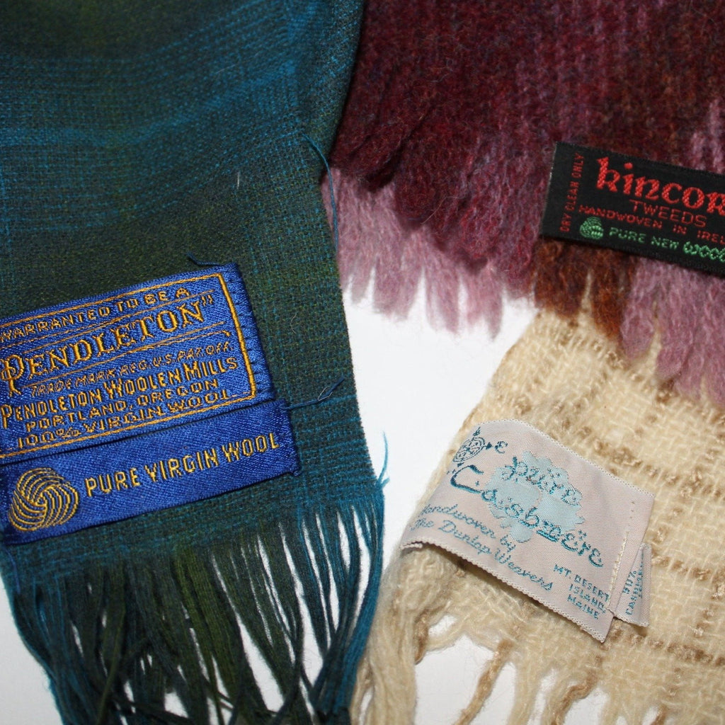 Lot 3 Scarves Wool DIY Craft Pendleton Dunlop Cashmere Kincora Ireland