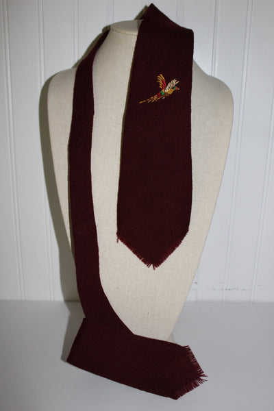 TEWA Necktie Native American Hand Loomed Wool Embroidered Pheasant
