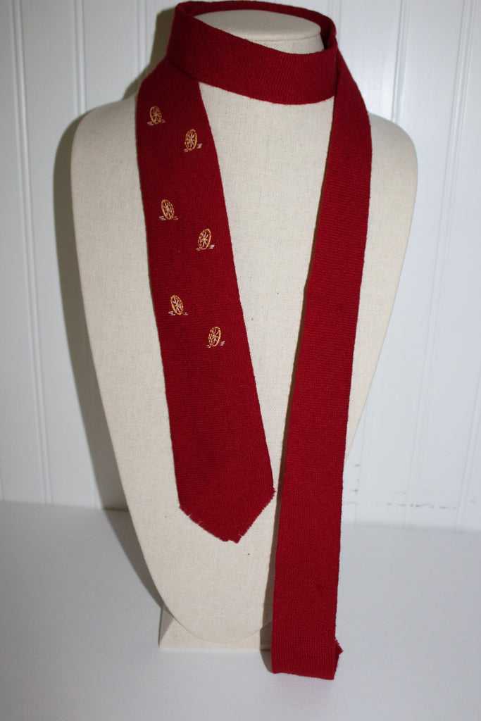 TEWA Necktie Native American Hand Loomed Deep Red Wool Embroidered