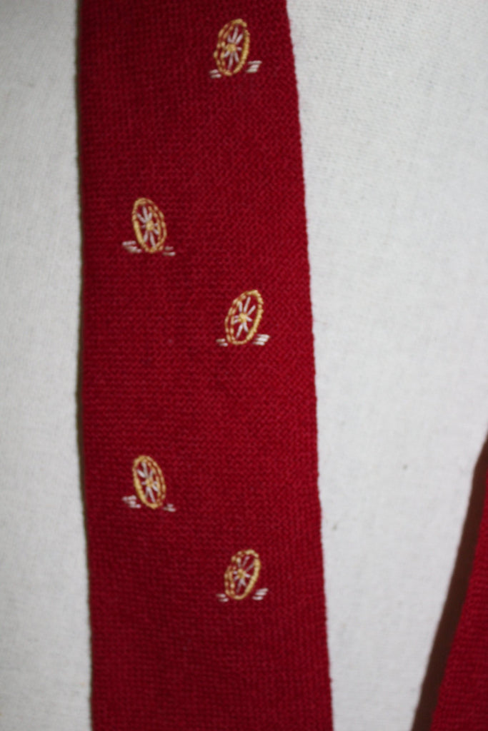 TEWA Necktie Native American Hand Loomed Deep Red Wool Embroidered southwest