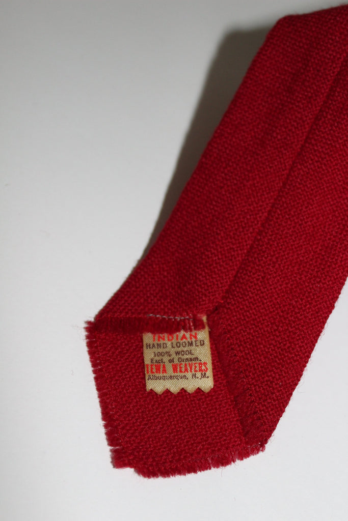TEWA Necktie Native American Hand Loomed Deep Red Wool Embroidered rare