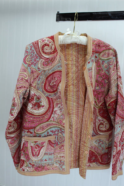 Reversible Quilted Jacket Vera Style Paisley Rose Pink Cream