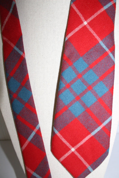 Wool Necktie Red Teal Plaid WB Logo