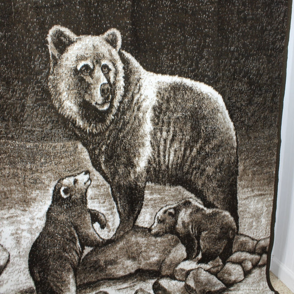 "Biederlack Acrylic Blend Throw Blanket - Grizzly Bear and Cubs - 74"" X 53"""