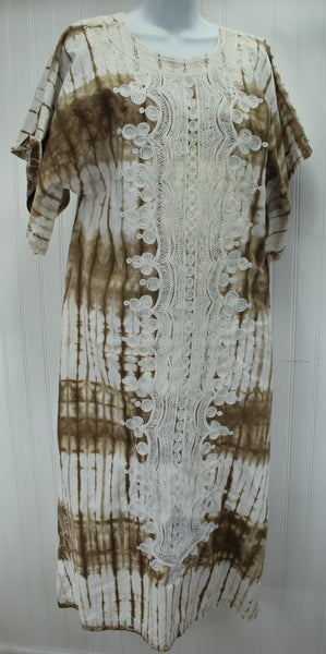 Vintage 1980s Africa Long Dress Lounge Nigeria Embroidered Dyed Cocoa White heavy