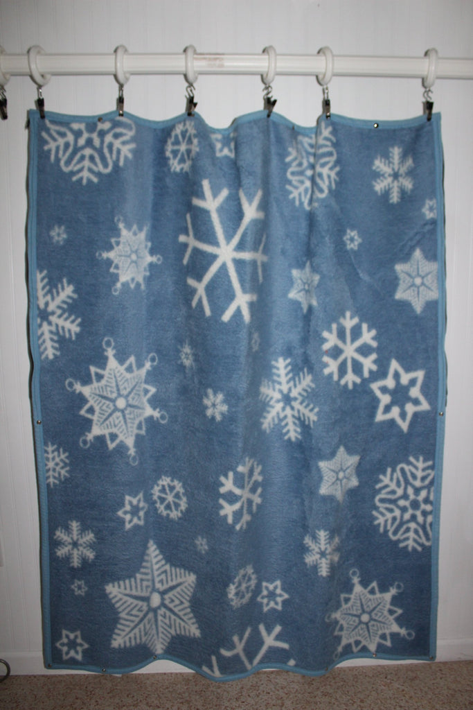 Biederlack Wearable Blanket Zipper Snaps Acrylic Poly Blue White Great cuddle