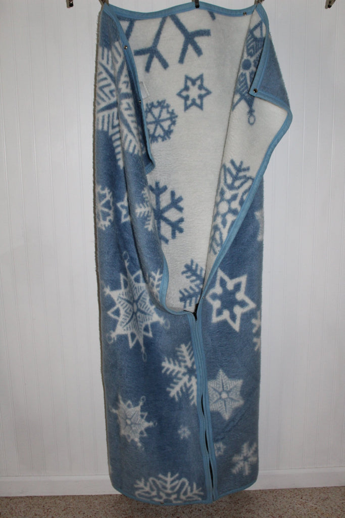 Biederlack Wearable Blanket Zipper Snaps Acrylic Poly Blue White Great soft