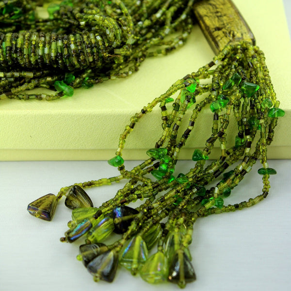 Tassel Glass Bead Necklace - Green Shades Opera Length all shades of green chartreuse