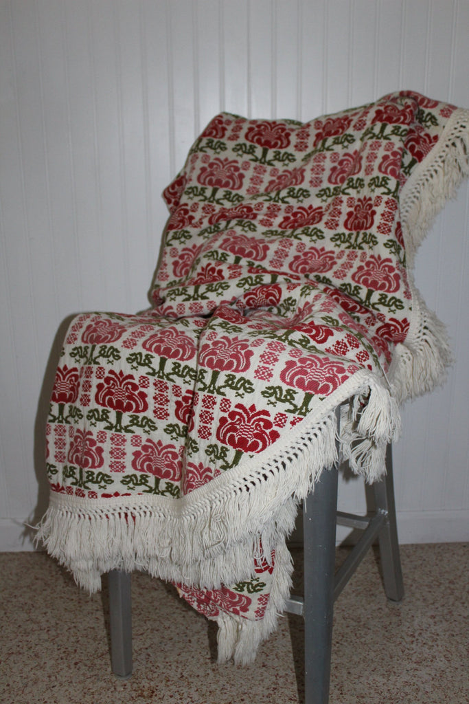 Cannon Cotton Bespread Coverlet Green Red All Year Use Heavy Washable eco friendly