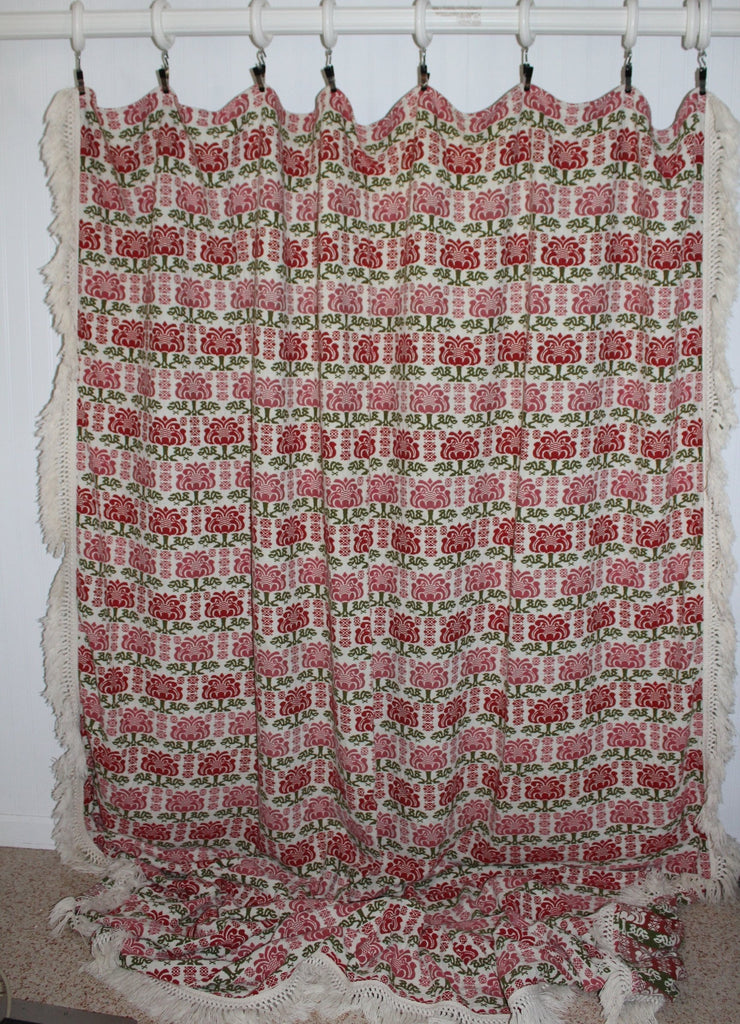 Cannon Cotton Bespread Coverlet Green Red All Year Use Heavy Washable vintage