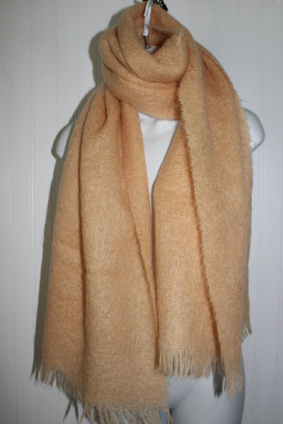 "Mohair Wool Scarf Coat Shawl Apricot ST MICHAEL Fringed SCOTLAND 18"" X 68"""