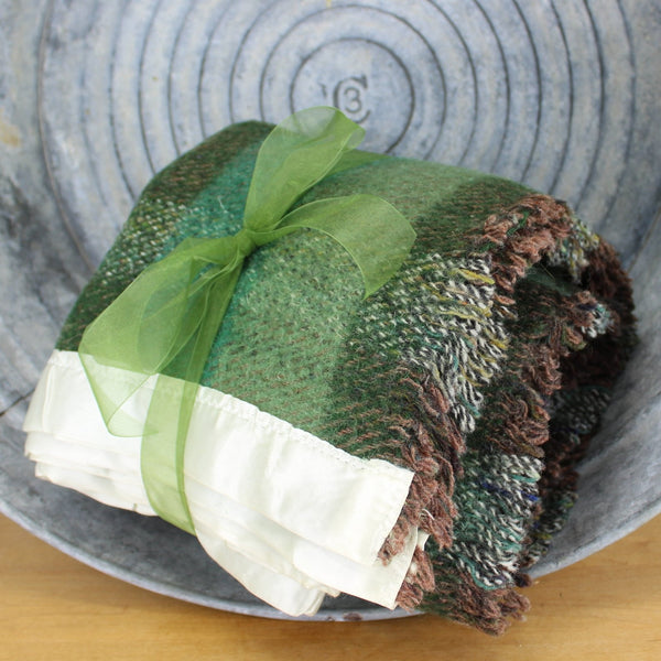 Clan Royal Wool Throw Blanket Scotland - Gorgeous Heavy Weave Shades of Green Brown