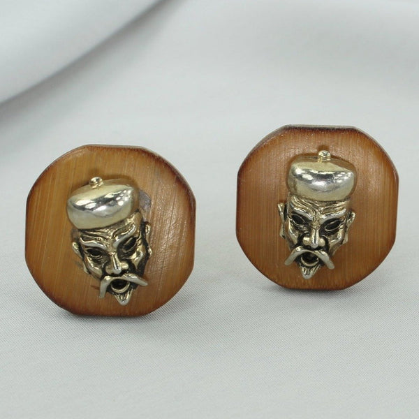Vintage Cuff Links SWANK Wood Tribal Chief Dimensional gold tone