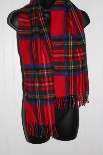 Fringed Scarf Lambswool Royal Stewart Red Plaid Tartan Scotland