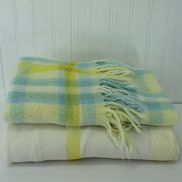 Pair (2) Blankets - small All Mine Acrylic & Ivory Cotton Blend Light Weight