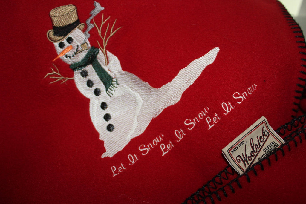 Vintage Woolrich Snow Man Throw Christmas Holiday Blanket