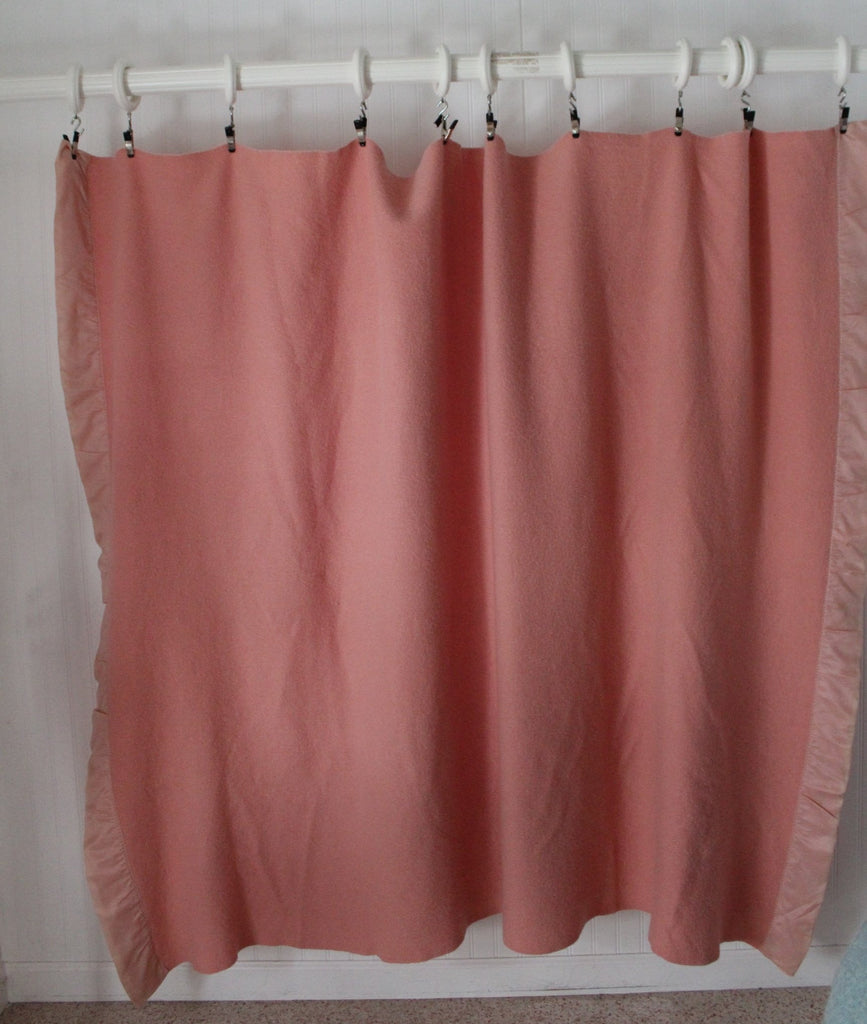 St Marys Ohio Wool Blanket Pink Pale Rose Vintage mid century