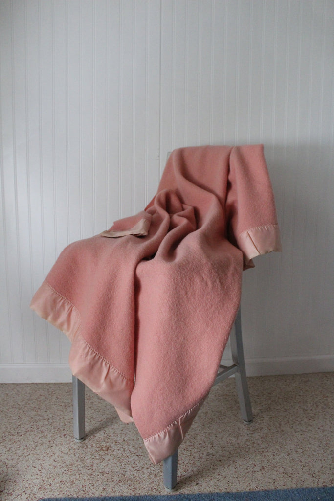 St Marys Ohio Wool Blanket Pink Pale Rose Vintage sustainable