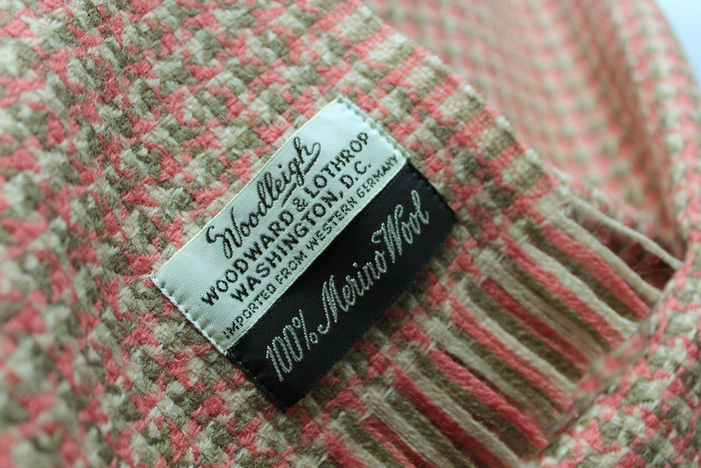 Woodleigh Merino Scarf Woodward & Lothrop Cocoa Rose Bone W Germany wool