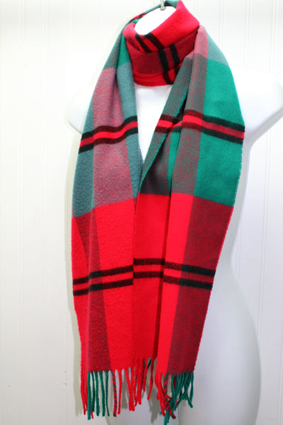 "Vintage Acrylic Scarf All Gender West Germany Turquoise Red Black 11"" X 67"""