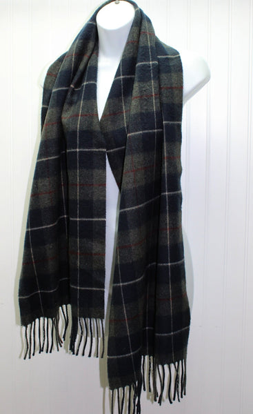 "Vintage Acrylic Scarf All Gender CHARTER CLUB Charcoal Navy 14"" X 64"""
