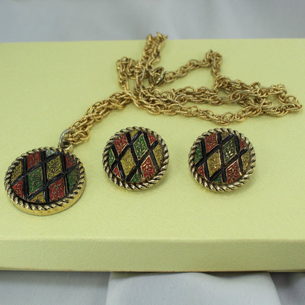 Vintage Set Necklace Clip Earrings SARAH COV Discs Moss Green Deep Red Gold
