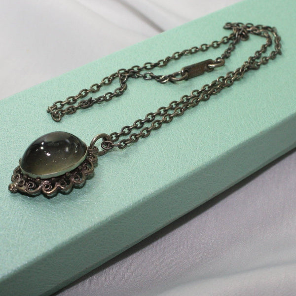 Vintage HOBE Necklace Smoky Glass Focal Silver Tone Chain