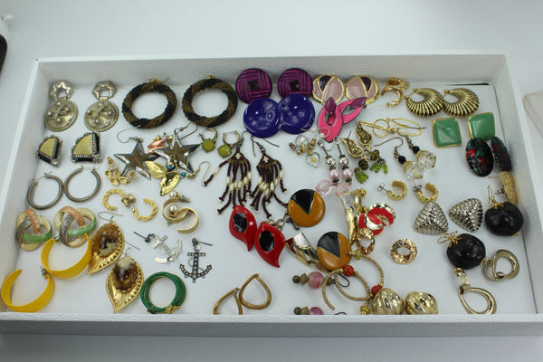 Earrings Lot 46 Pairs from Estates Wearable Unmarked Variety from Estates