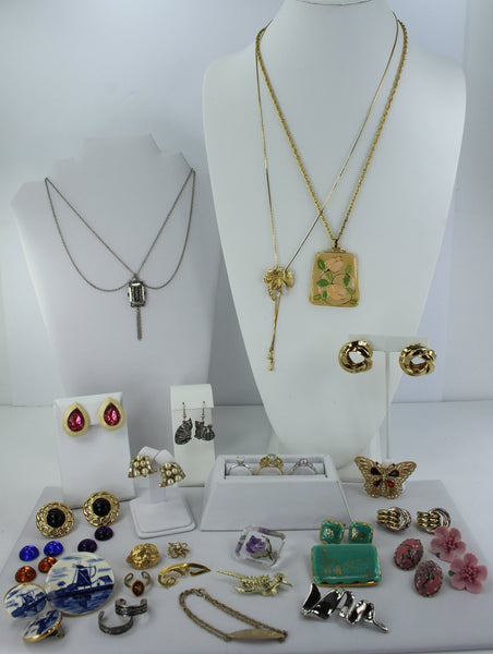 Interesting Jewelry Lot 27 Pieces Unmarked Variety Earrings Necklaces Pins