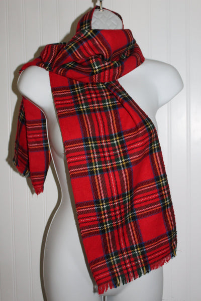 "Red Wool Scarf Stewart Tartan 8 3/4"" X 57"" Shandon Ireland Fringed"