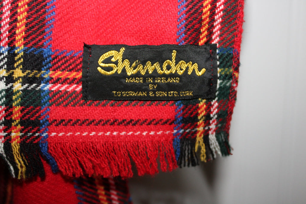 "Red Wool Scarf Stewart Tartan 8 3/4"" X 57"" Shandon Ireland Fringed excellent"