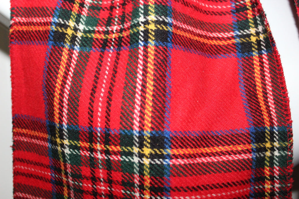 "Red Wool Scarf Stewart Tartan 8 3/4"" X 57"" Shandon Ireland Fringed orig tag"