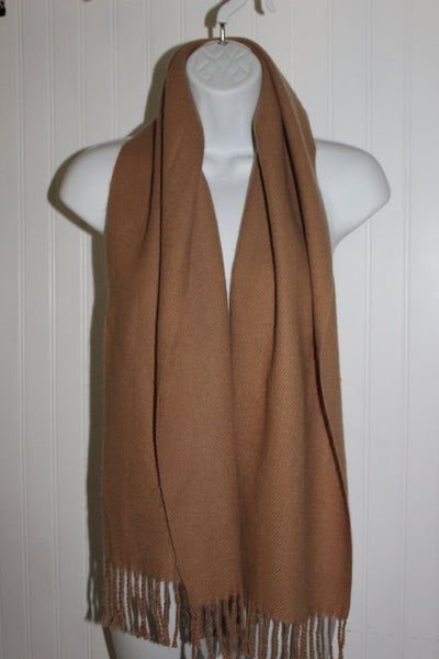 "Cashmere Scarf Classic Camel 11"" X 53"" Fringed England Made"