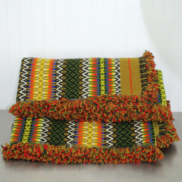 "Travel Rug Blanket - Woven Wool - Colorful Vibrant Appears New - Large 60"" X 84"""